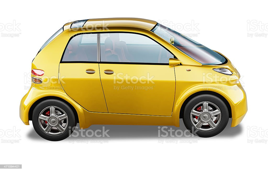 Yellow modern generic small city car. At white background. stock photo
