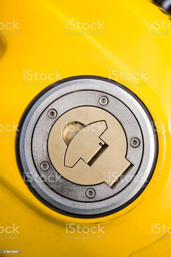 Yellow Motorcycle Gas Tank royalty-free stock photo