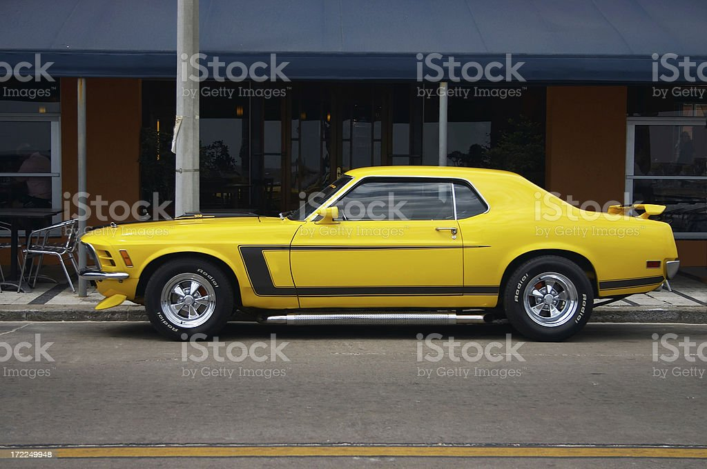 Yellow Mustang  w/clipping path stock photo