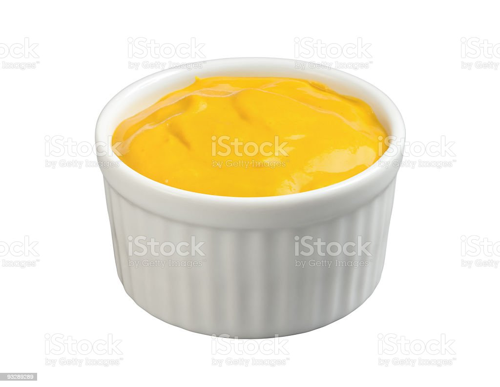 Yellow Mustard in a White Ramekin with a clipping path royalty-free stock photo