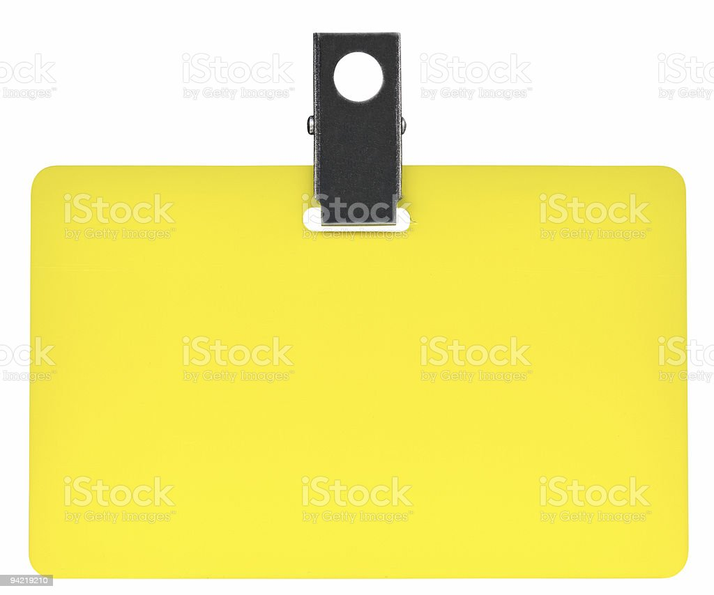 Yellow Name Tag isolated on white background, clipping path stock photo