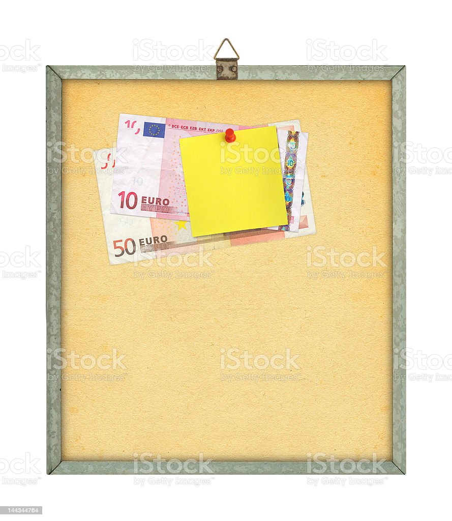 yellow note and money stock photo