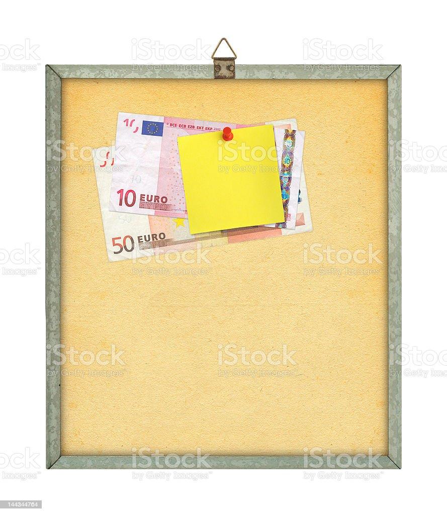 yellow note and money stock photo