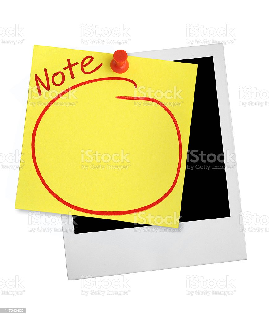 yellow note and photo frame stock photo