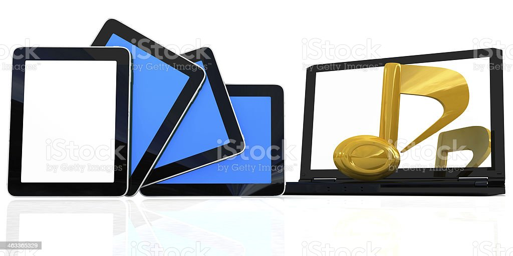 yellow note on the  laptop and  tablet pc stock photo
