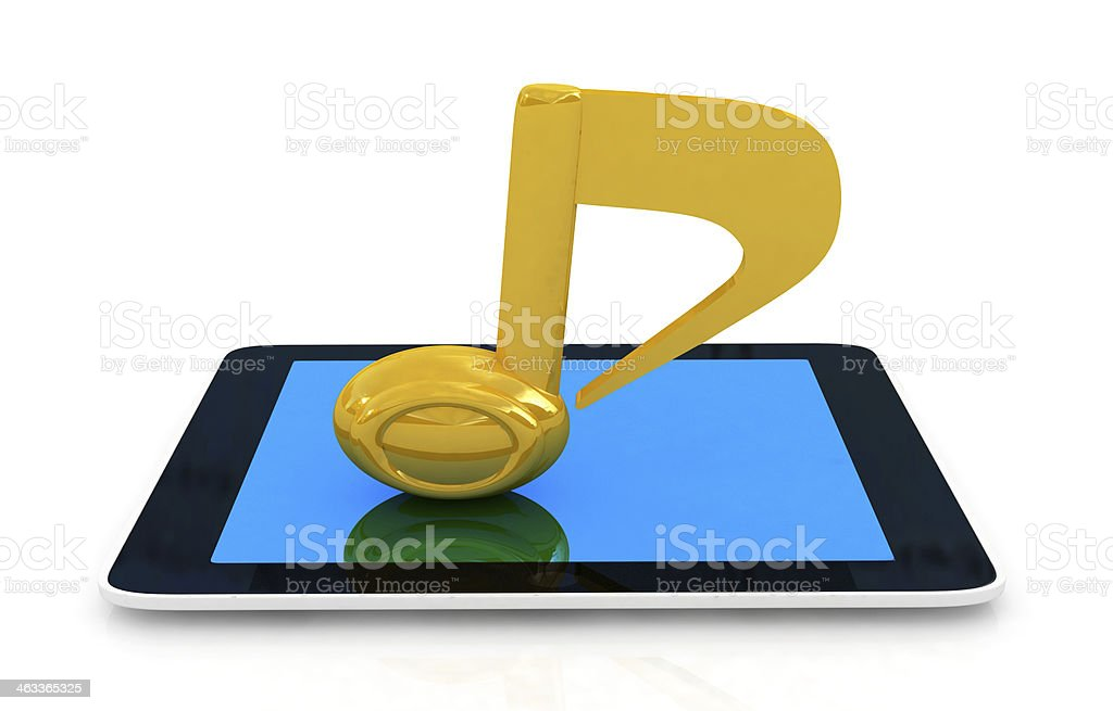 yellow note on the tablet pc stock photo