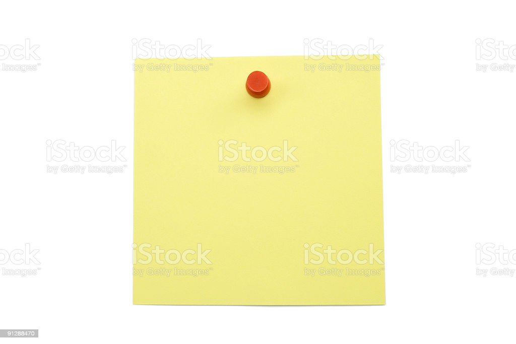 Yellow Note Paper Isolated on White royalty-free stock photo