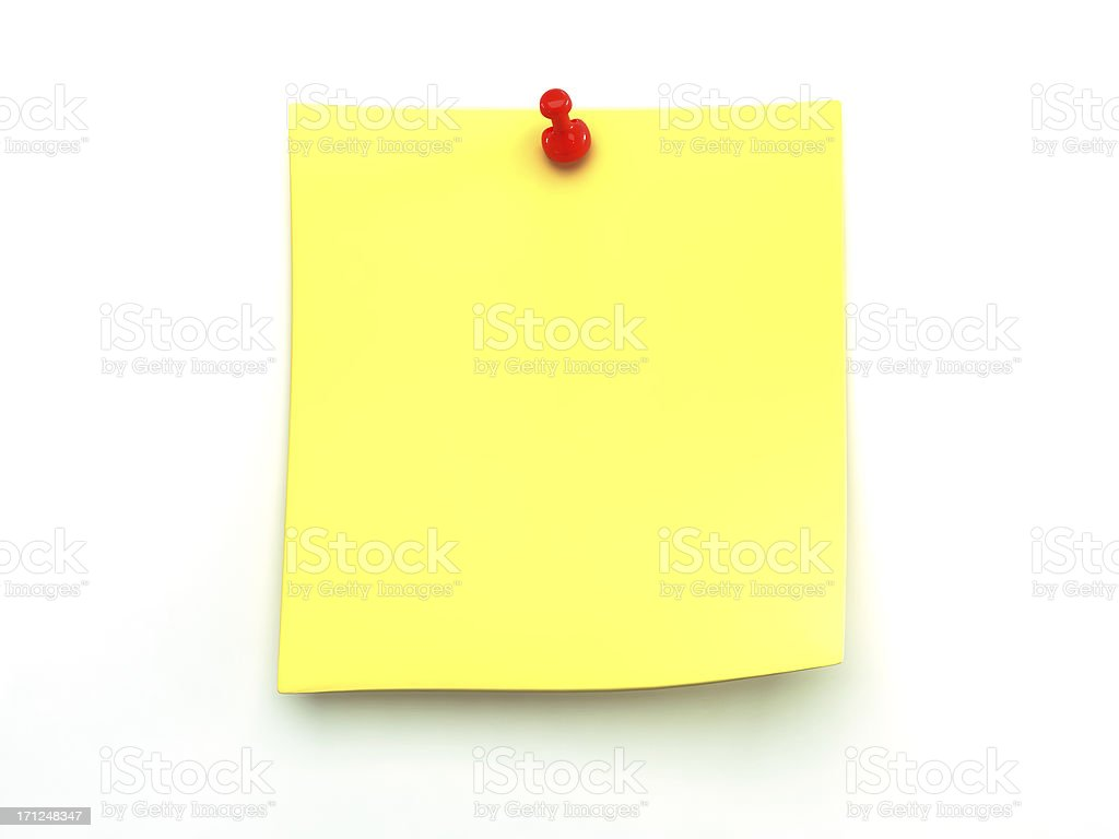 Yellow note paper on a wall held with push pin stock photo