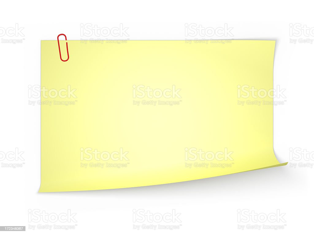 XXL Yellow Note Paper  (Isolated) royalty-free stock photo