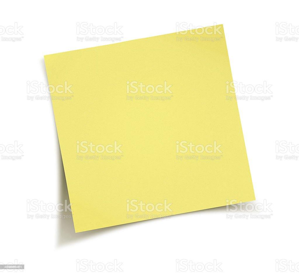 Yellow note paper stock photo