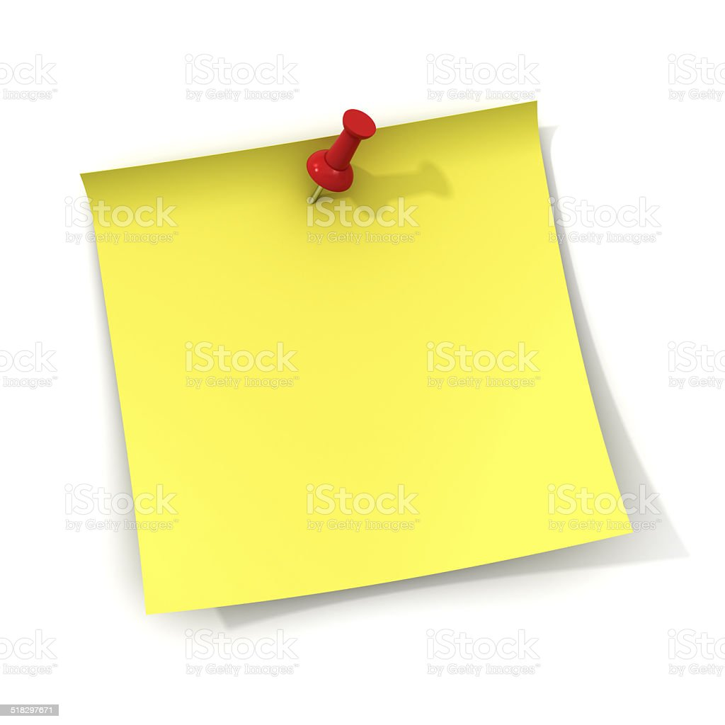 Yellow note with red push pin stock photo