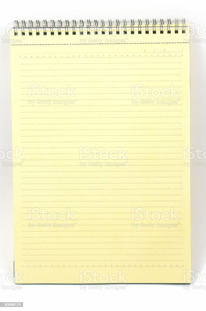 Yellow notebook on white royalty-free stock photo