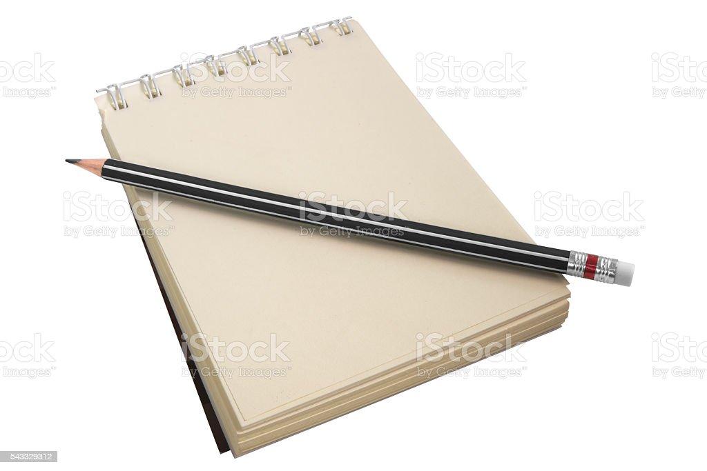 Yellow notepad isolated on white stock photo