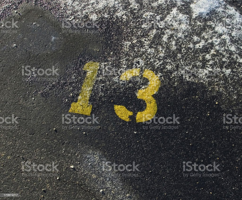 Yellow number 13 royalty-free stock photo
