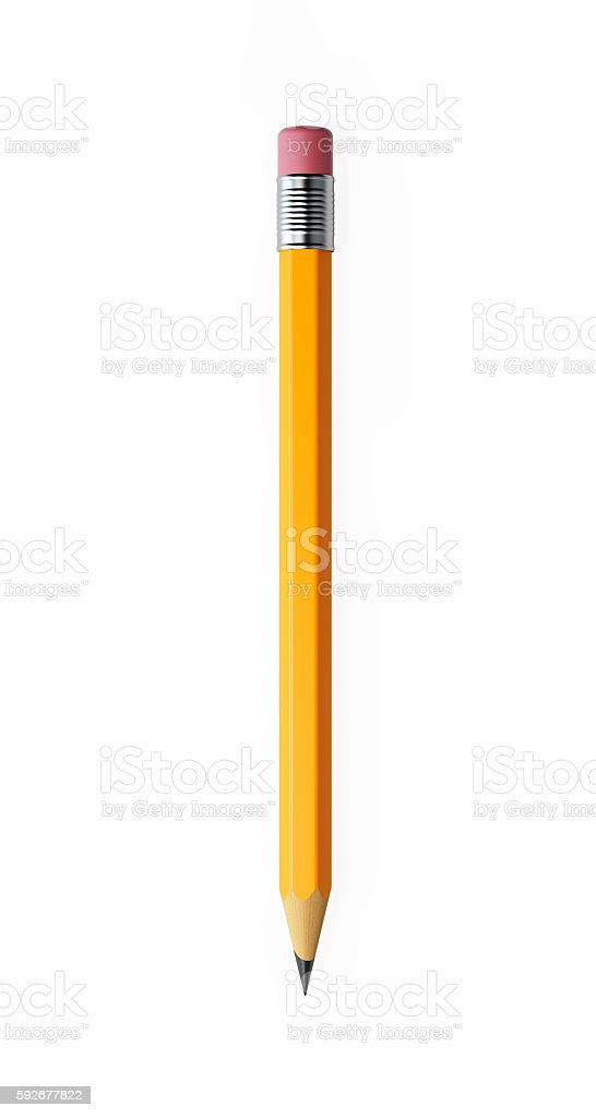Yellow Number Two Pencil Isolated on White Background stock photo