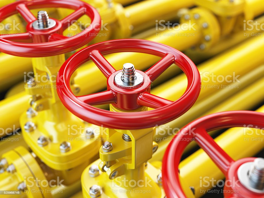 Yellow oil or gas pipe line valves. 3d stock photo