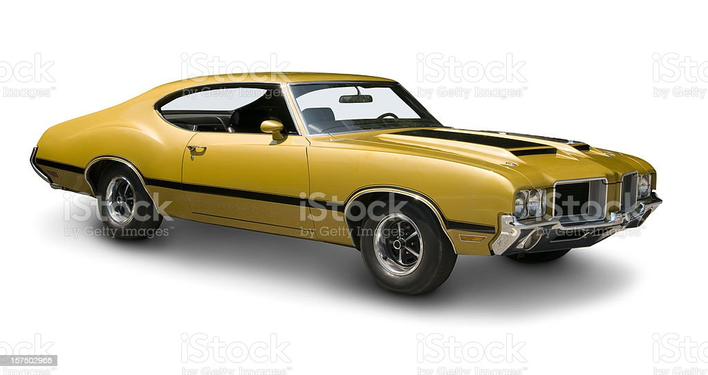 Yellow Oldsmobile 442 Muscle Car royalty-free stock photo