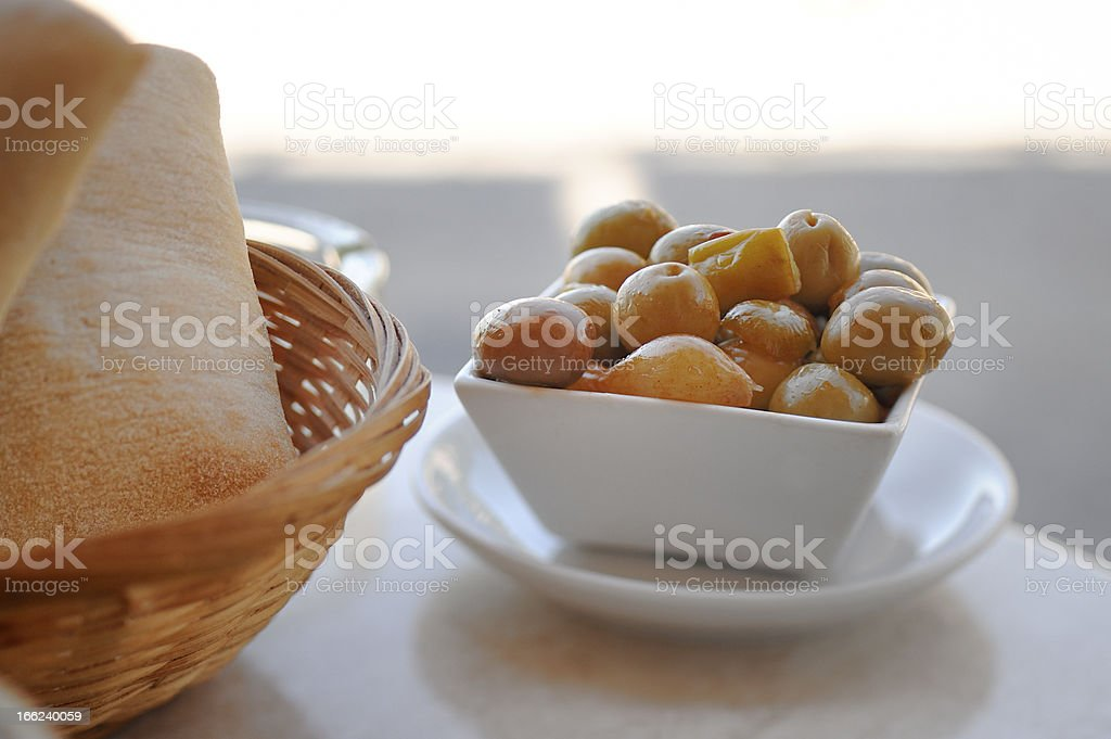 Yellow olives in pot royalty-free stock photo
