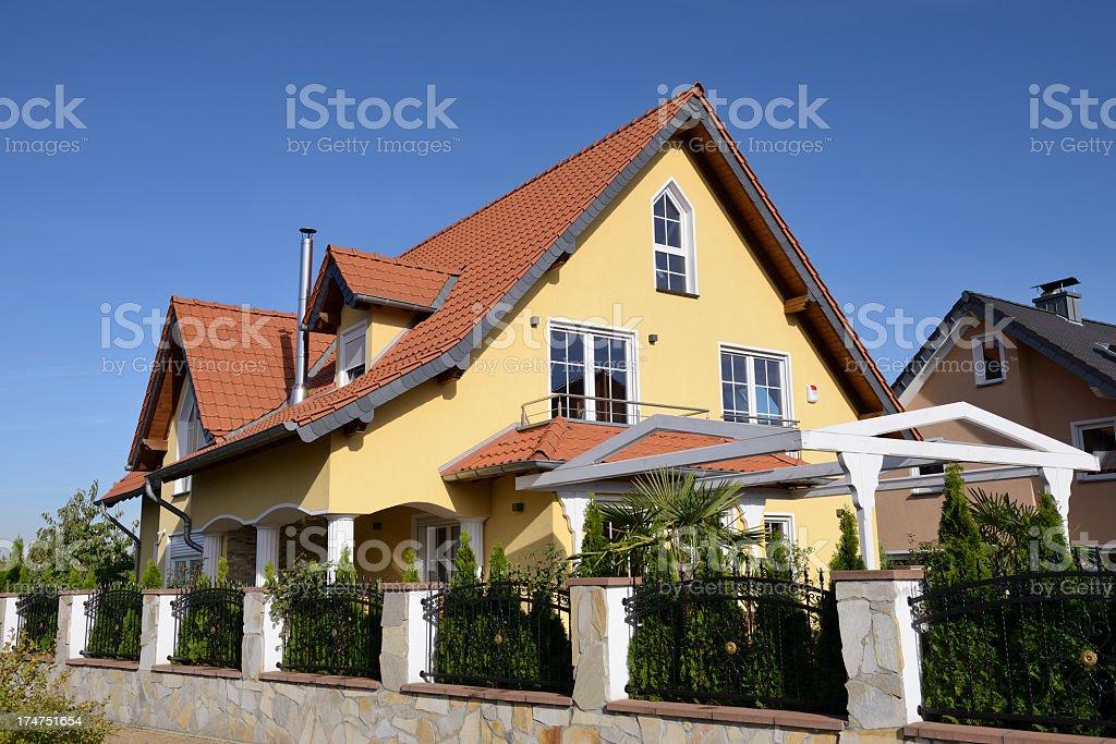 Yellow one family house royalty-free stock photo