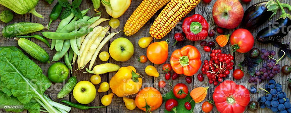 yellow, orange, red fruits and vegetables stock photo