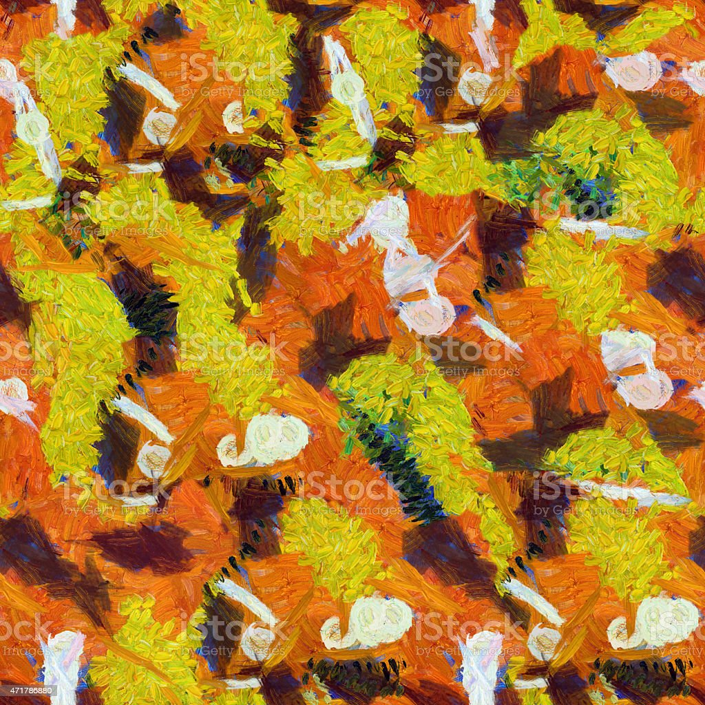 Yellow orange white abstract seamless pattern oil strokes texture painting vector art illustration