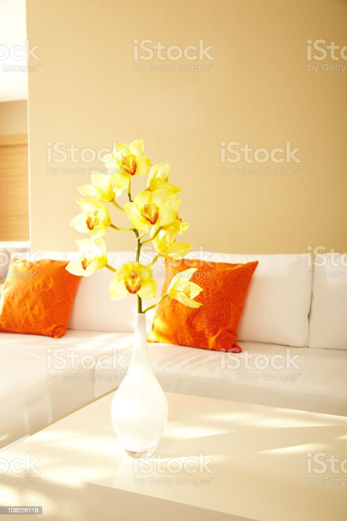 Yellow Orchids in Modern House royalty-free stock photo