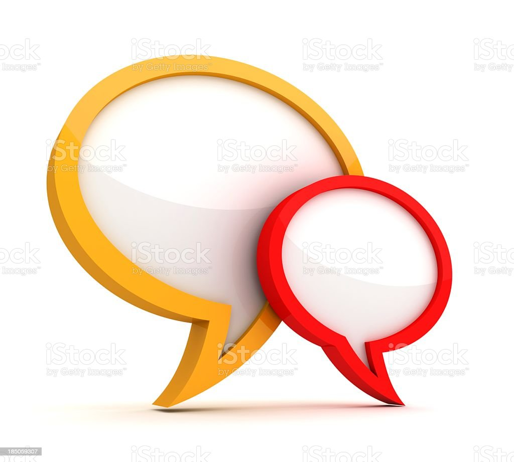 Yellow outlined and red outlined empty speech bubbles stock photo