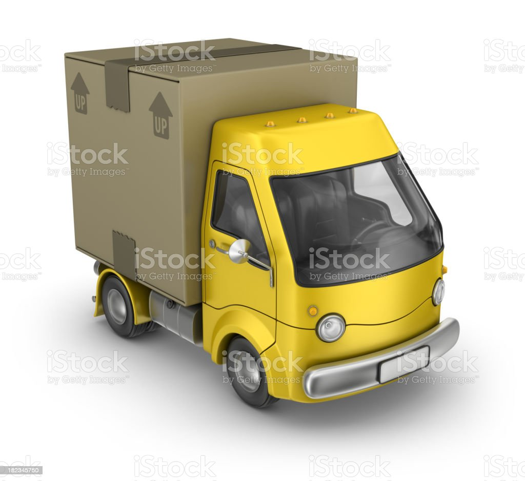 yellow package delivery van royalty-free stock photo