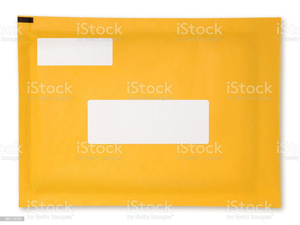 Yellow padded envelope with blank white labels stock photo