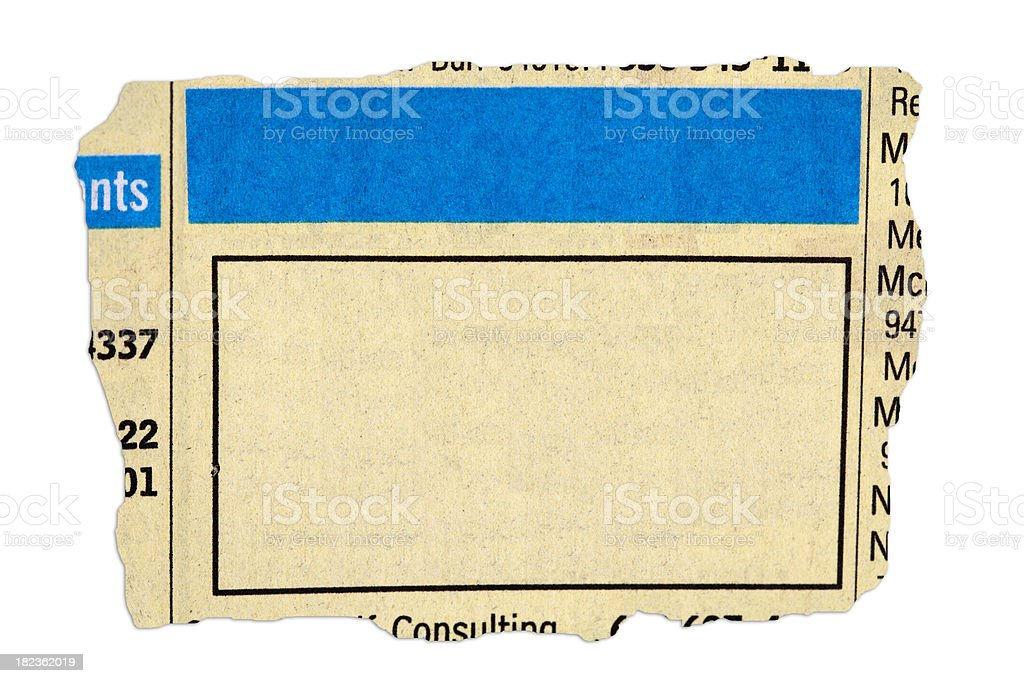 Yellow Pages Ad stock photo
