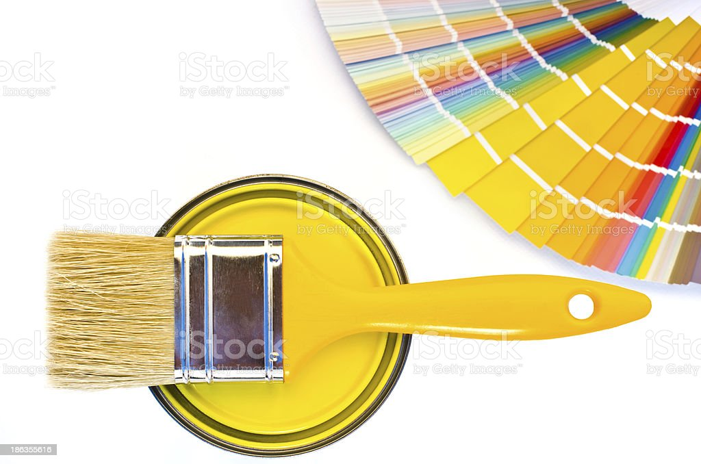 Yellow paint and swatch. royalty-free stock photo