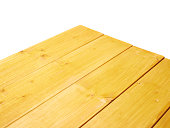 Yellow paint coated wooden boards