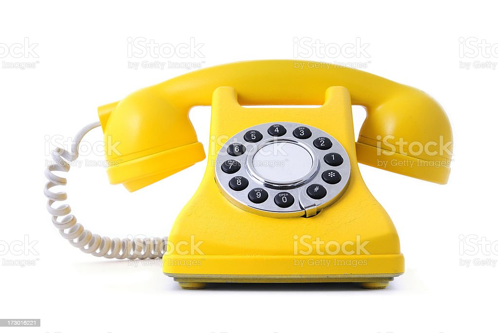 yellow painted classical phone stock photo