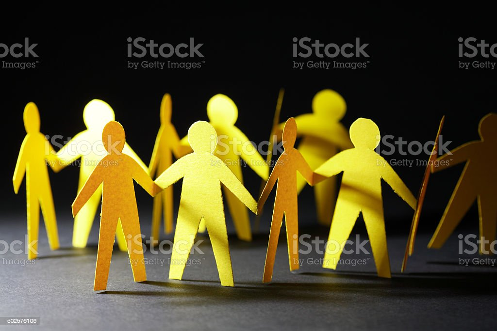 Yellow Paper Men stock photo