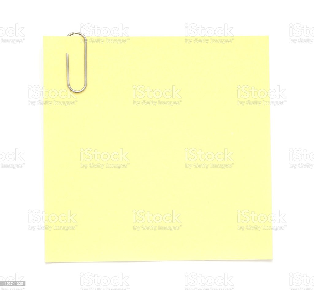 Yellow Paper Note with Clip stock photo