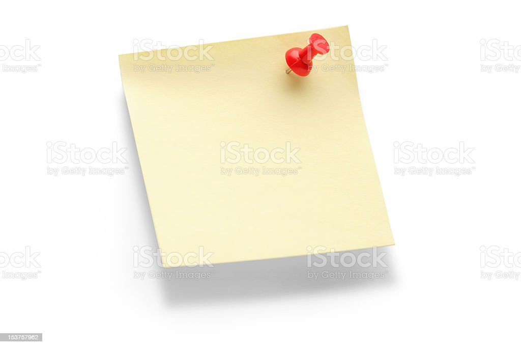 Yellow paper note with push pin royalty-free stock photo