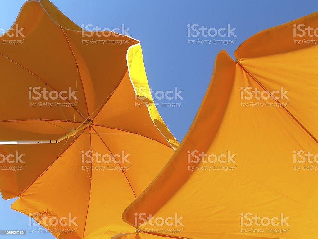 Yellow Parasols royalty-free stock photo