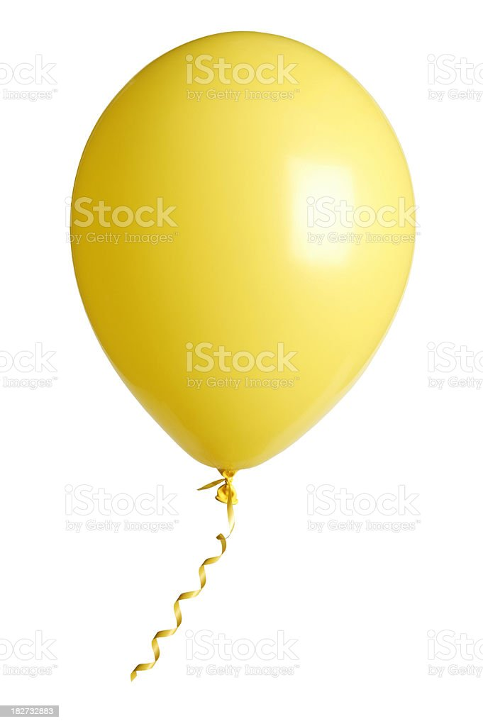 yellow party balloon isolated on white stock photo