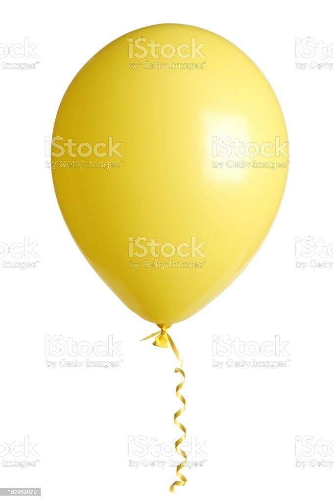 Yellow party balloon on white background royalty-free stock photo