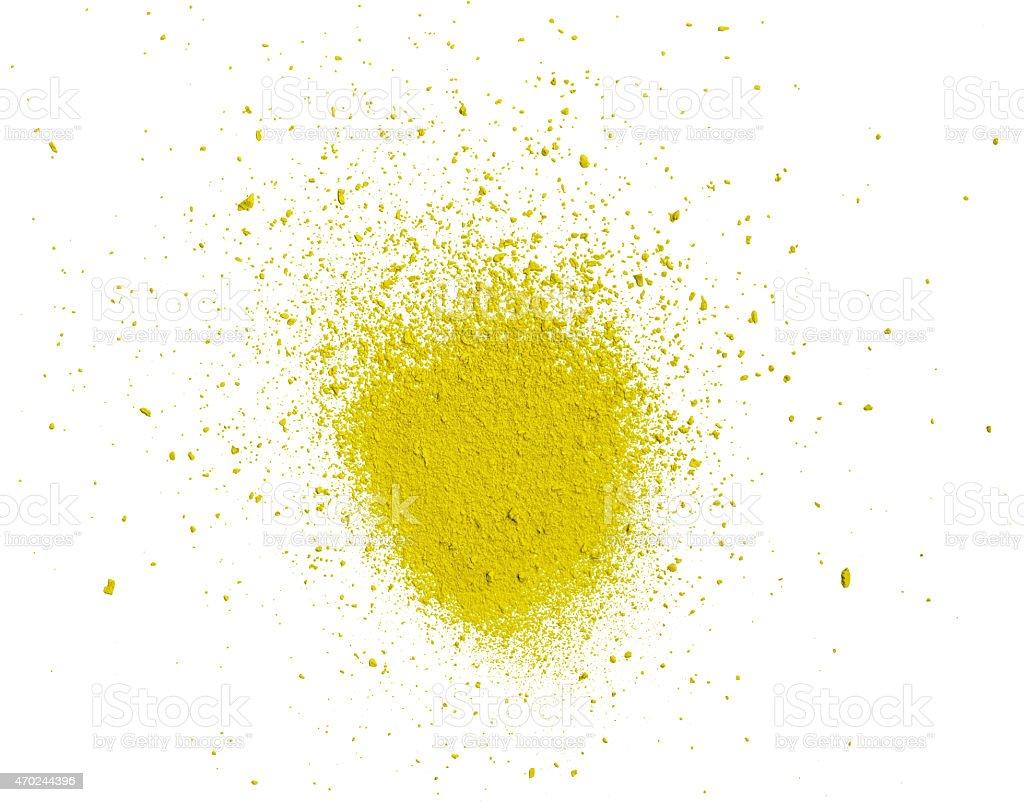 Yellow  pastel powder on white background stock photo