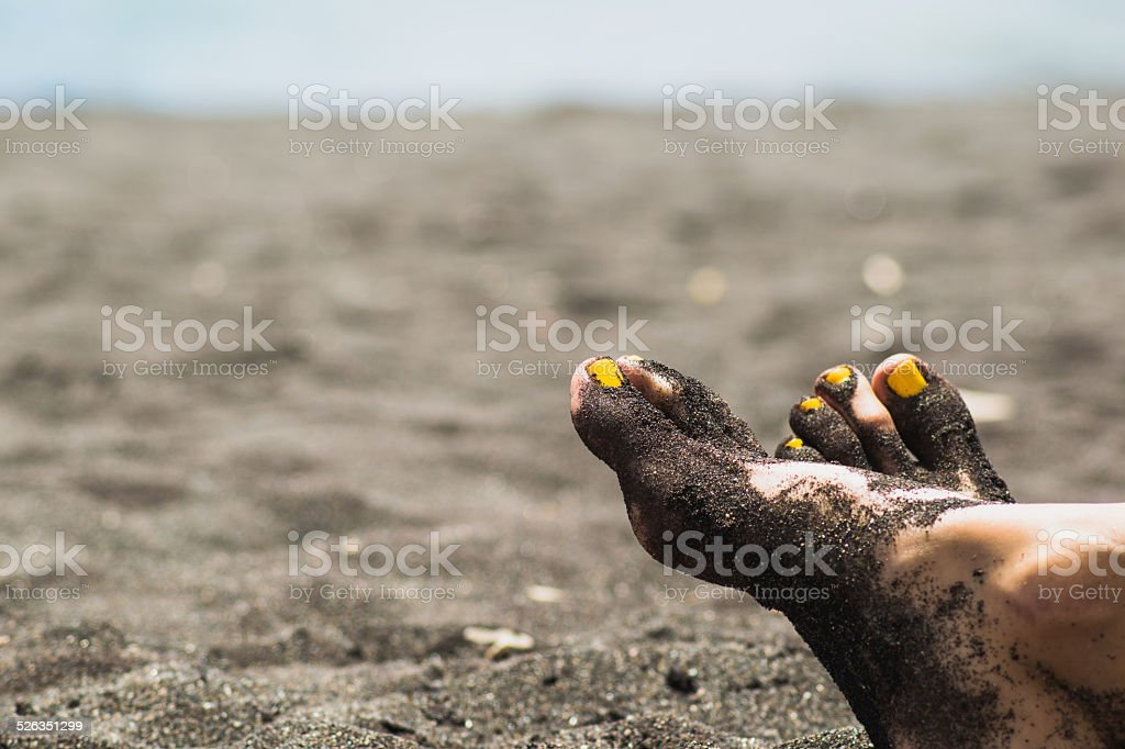 Yellow pedicure stock photo