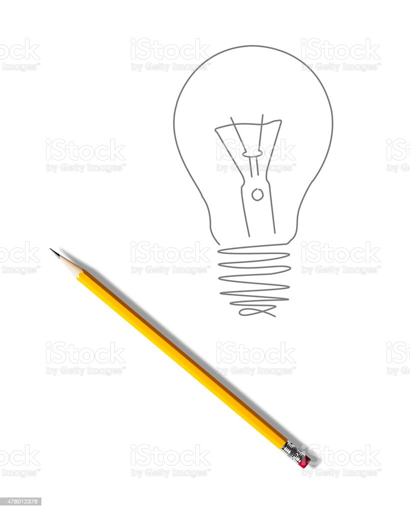 Yellow pencil drawing of a light bulb on white paper stock photo