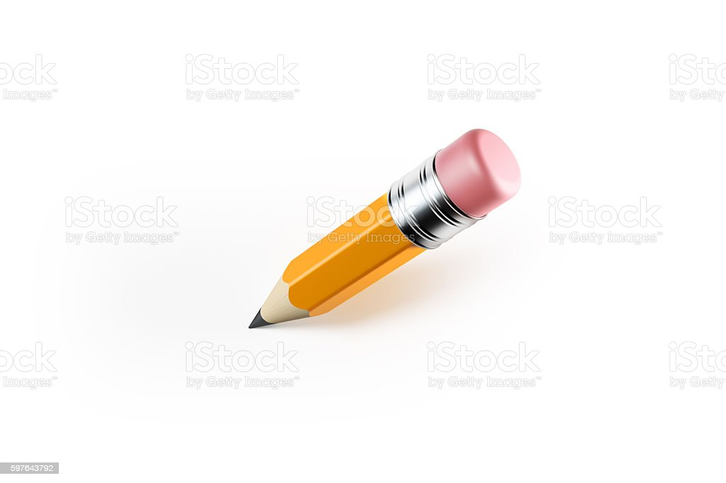 Yellow  Pencil Isolated on White Background stock photo
