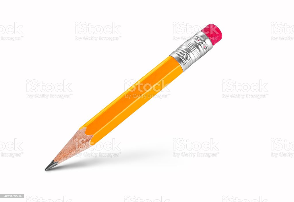 yellow pencil isolated on white stock photo
