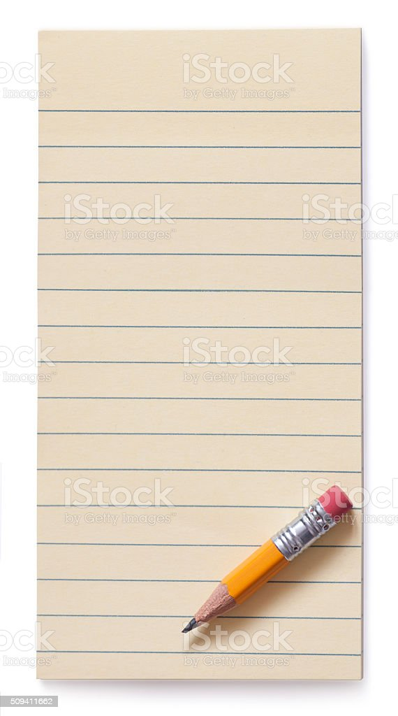 Yellow pencil on note pad isolated stock photo