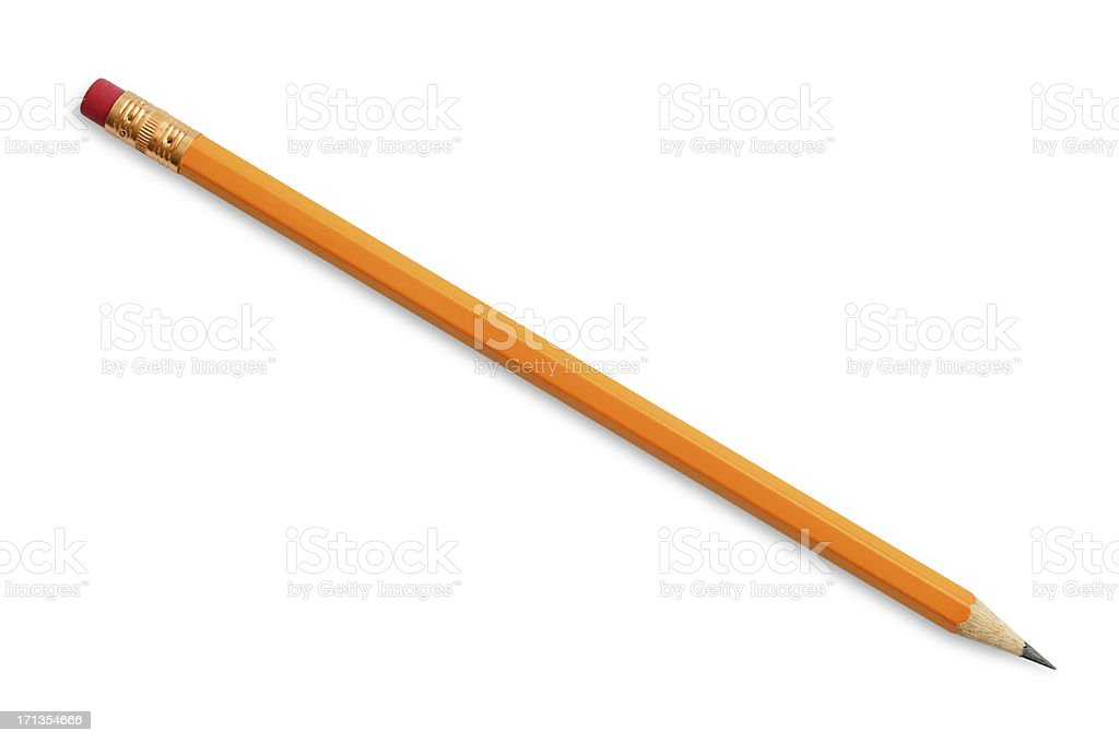Yellow Pencil With Eraser stock photo