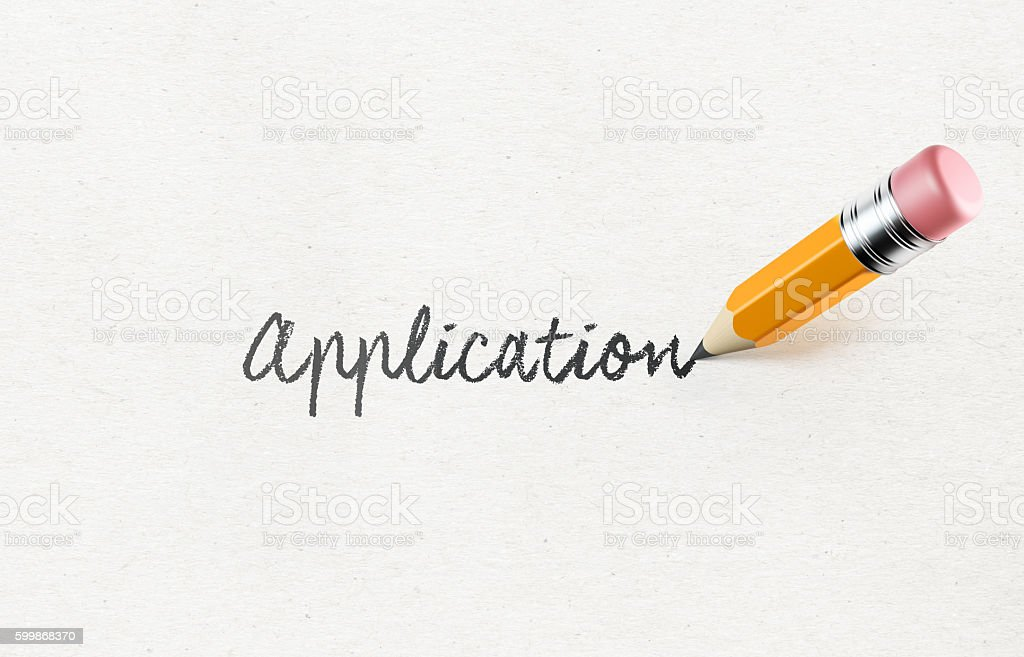 Yellow  Pencil Writing 'Application' on Paper stock photo