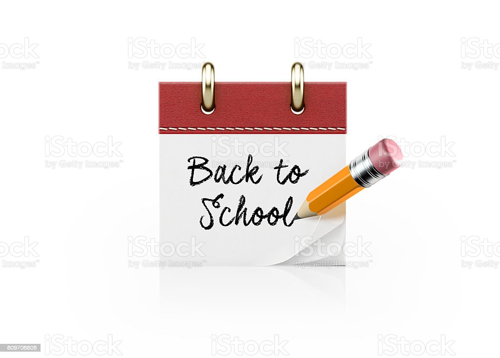 Yellow Pencil Writing Back to School on a Red Calendar stock photo