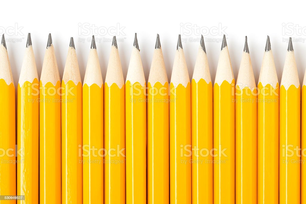 Yellow pencils close up stock photo