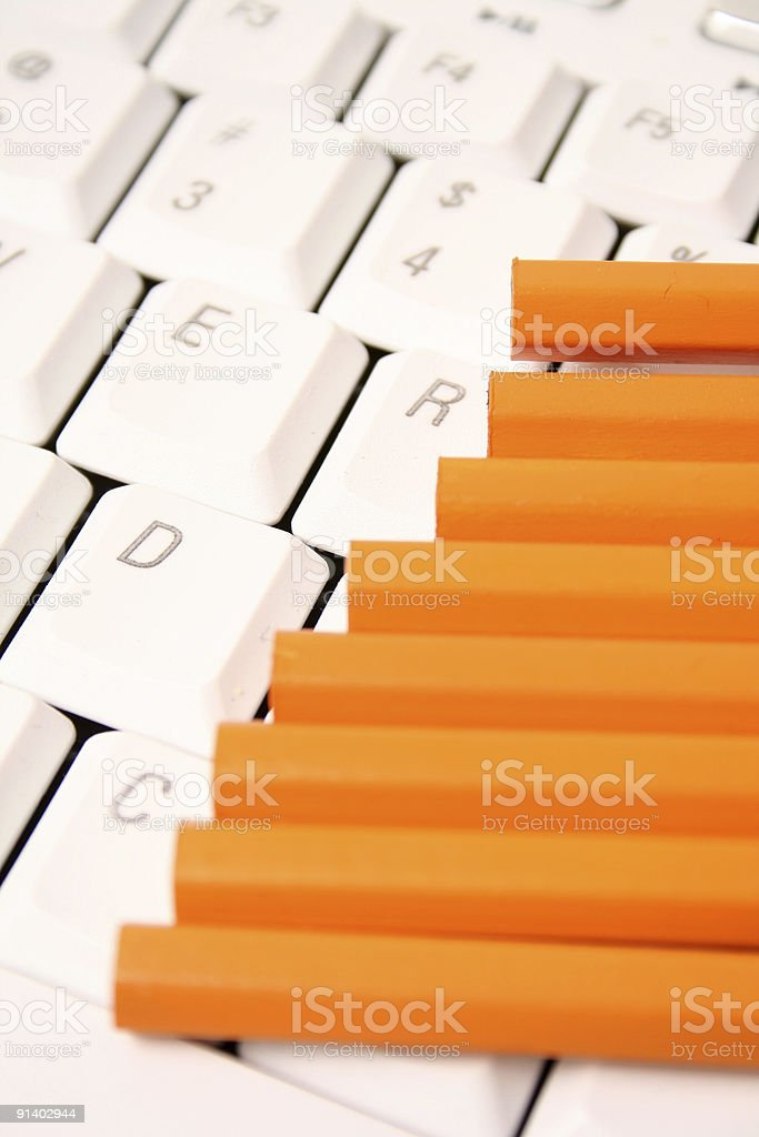Yellow Pencils on keyboard royalty-free stock photo